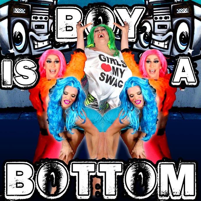 Willam, Detox, and Vicky Vox making fun of flamboyant bottoms while simultaneously gender queering their video