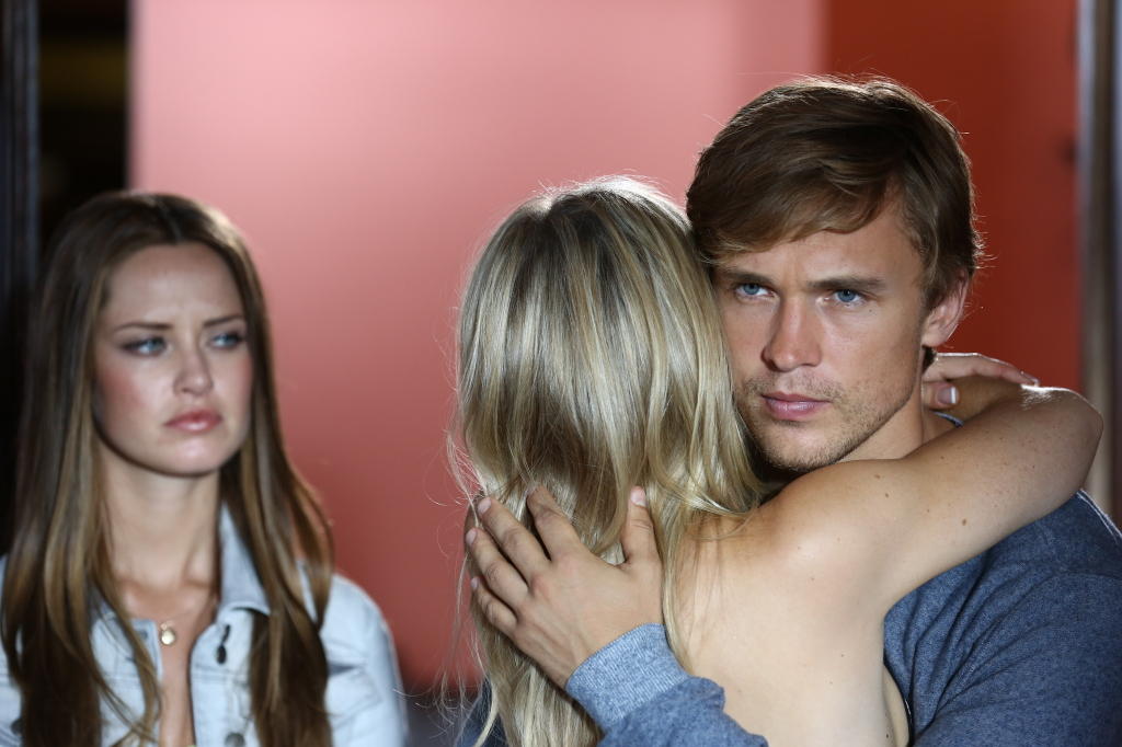 """Isn't love a bitch? Merritt Patterson as """"Ophelia,"""" Sophie Colquhoun as """"Gemma"""" and William Moseley as """"Prince Liam"""" in E!'s THE ROYALS premiering March 2015."""