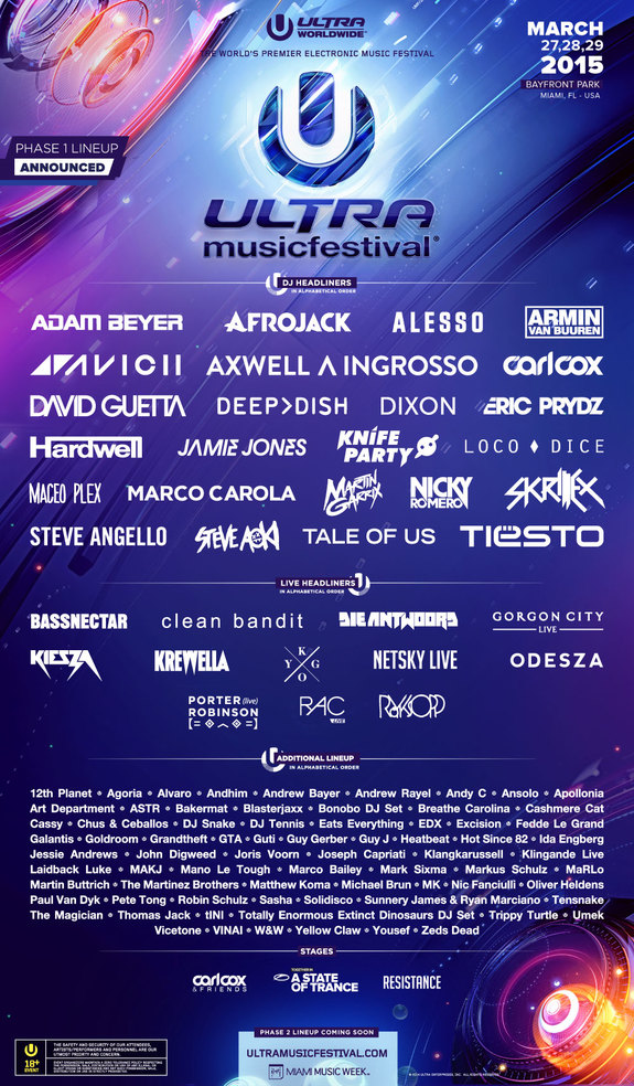 Ultra Music Festival 2015 Official Line-up