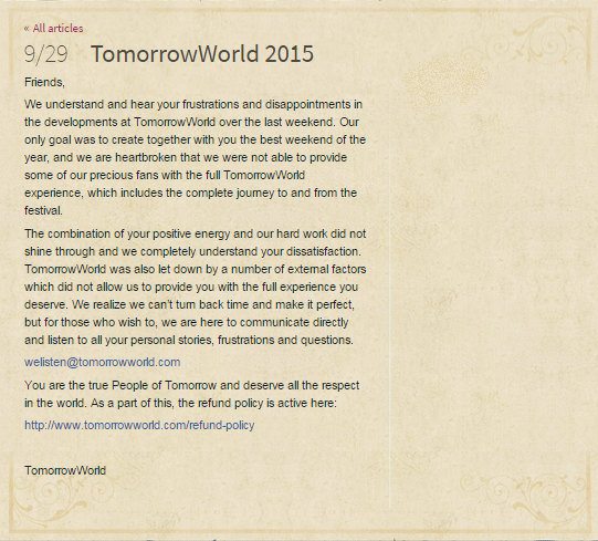 TomorrowWorld Apology Refund Policy raannt