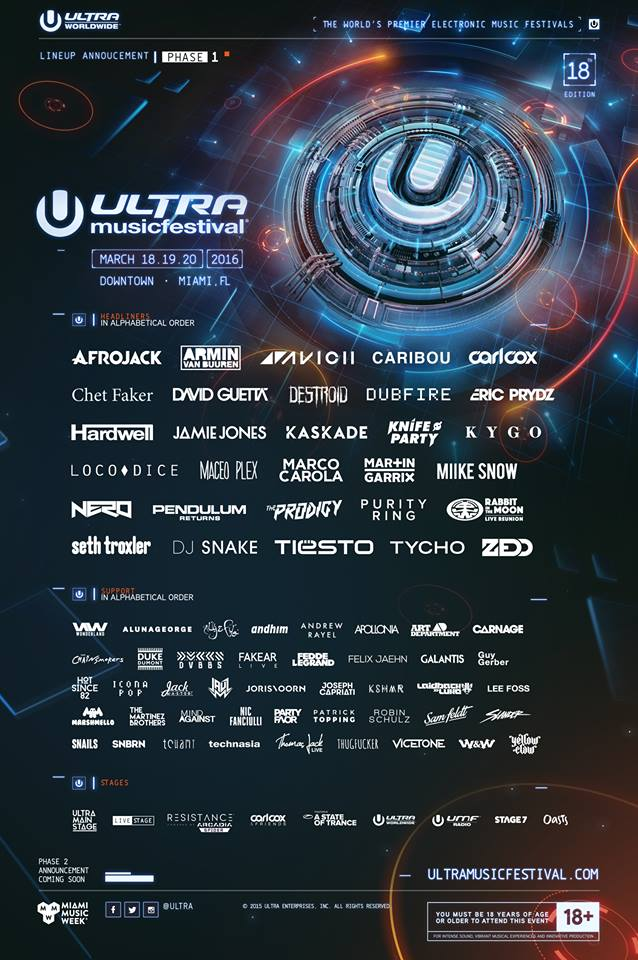 ultra music festival 2016 line up raannt