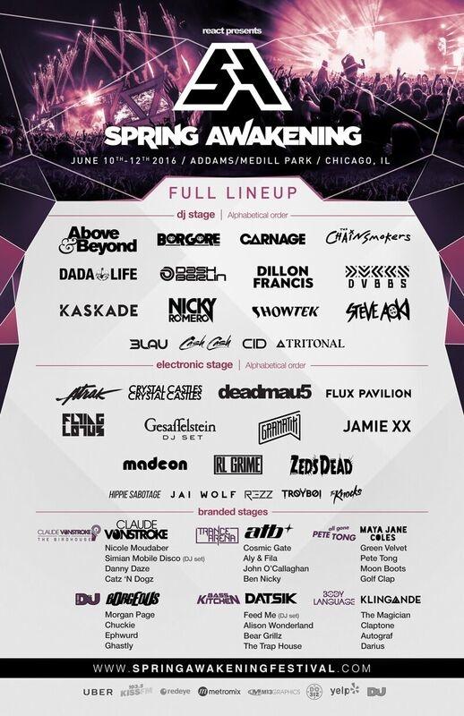 Spring Awakening Full Lineup raannt Addams-Medill Park Chicago IL June 10th - 12th