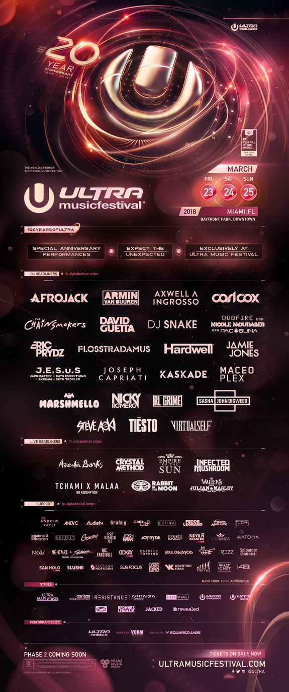 Miami, FL (December 19, 2017) Having welcomed over one million fans to forty-five events internationally in 2017, the world's largest, most international and most successful remaining independent electronic music festival brand is just three months away from its biggest show ever – ULTRA MUSIC FESTIVAL's twentieth birthday.