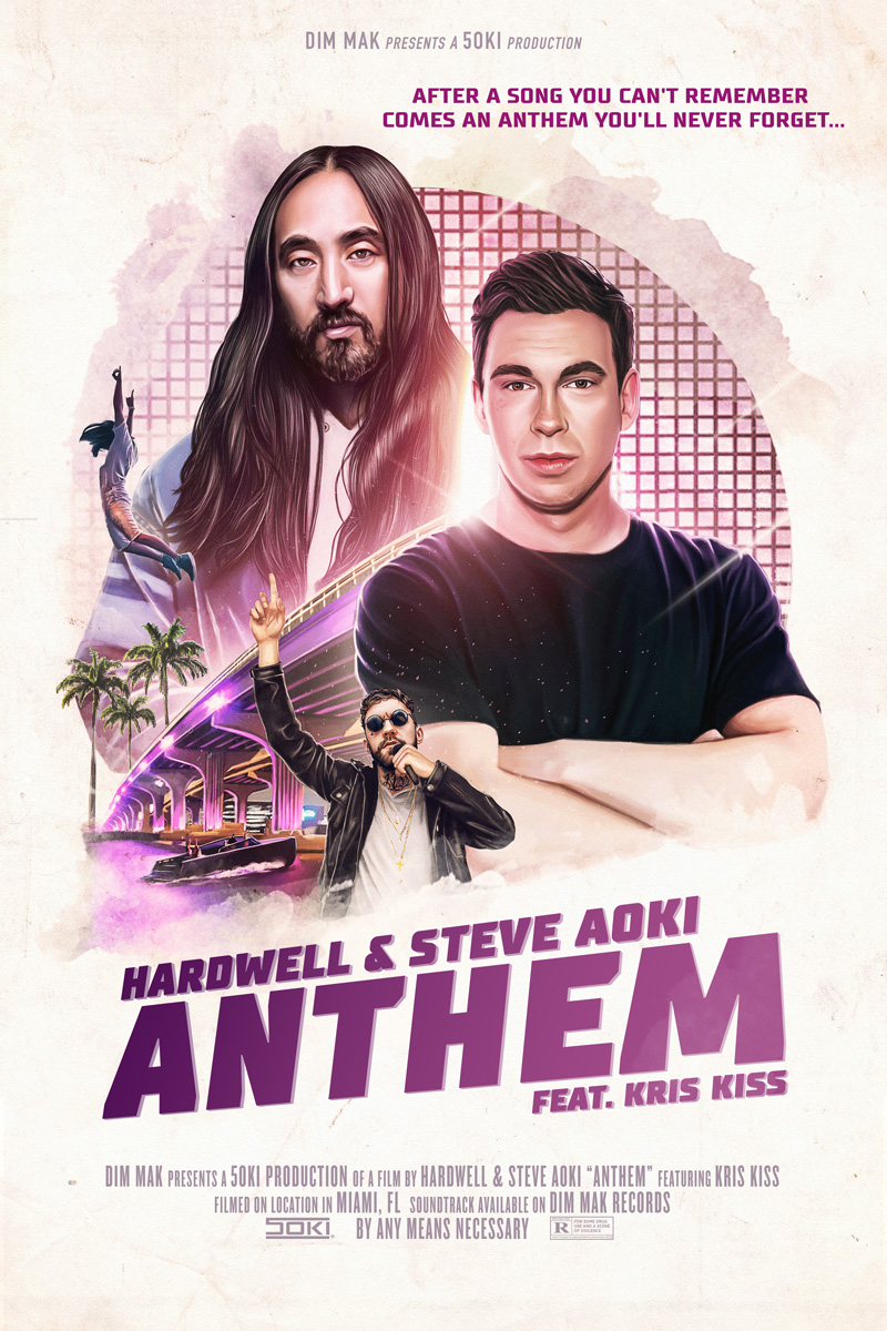 the single's cover art mirrors a movie poster for an imaginary film centered around Aoki and Hardwell's performances at Miami's Ultra Music Festival.