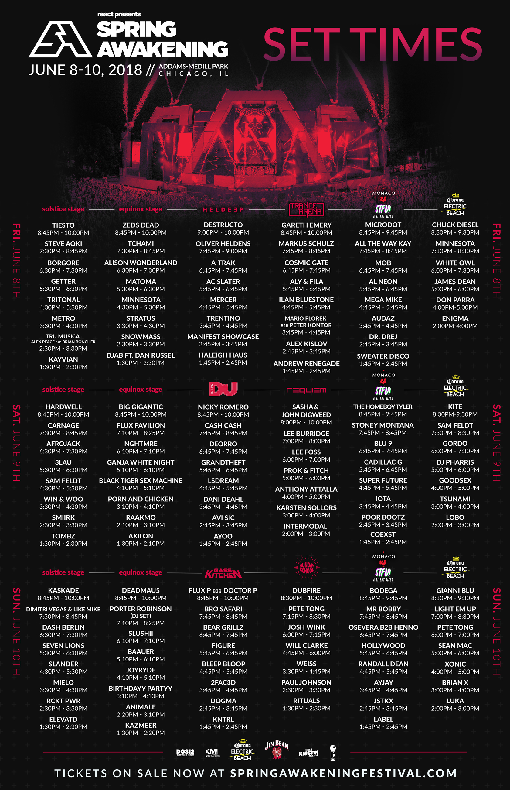 Set times for DJs and stages for Spring Awakening 2018 Chicago.