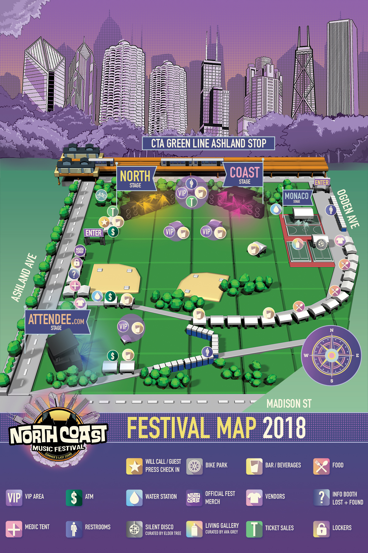 Finally, here is the map! Plan ahead so you know where all of your artists will be playing and where the nearest water station is. Get hyped! Labor Day weekend is creeping up!