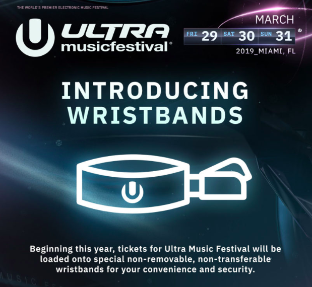 Ultra Music Festival Beginning this year, tickets for Ultra Music Festival will be loaded on non-removable, non-transferable wristbands for your convenience and security.