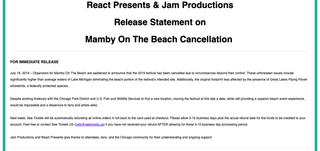 React Presents & Jam Productions Release Statement on Mamby On The Beach Cancellation.